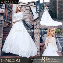 Dubai Muslim Bridal Gown 3/4 Long Sleeves Lace Wedding Dress Patterns 2016