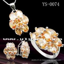 Juego de joyas hechas a mano de circón de colores de moda (YS-0074)
