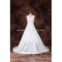 2017 perles en satin blanc sequines balayage train robe de mariée robe de mariée avec de vraies images