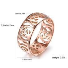 Hermoso hueco a Camelia anillo 18K oro rosa mujer plateado anillo moda joyería por mayor dedo Metal anillo banda de titanio