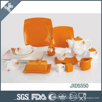 Стильный дизайн оранжевый сплошной цвет ужин набор керамической современной площади посуды