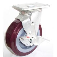 Industrail Swivel PU Roda de caster com freio lateral (vermelho)
