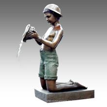 Estatua grande Conch Boy Fuente Bronce Escultura Tpls-023
