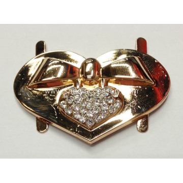 Well Designed Heart Alloy Buckle with Another Rhinestone Heart Centered