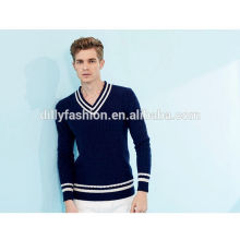 European school fashion navy mens sweater cable knit v-neck pullover sweater