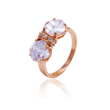 Xuping New Style Fashion Rose Gold Ring en couleur avec White CZ Stone