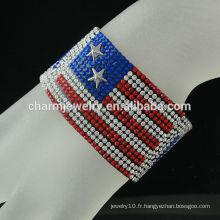 European American flag Velvet Bracelet en cuir large avec fermoir magnétique Boucle Cristal Vente chaude BCR-016-2