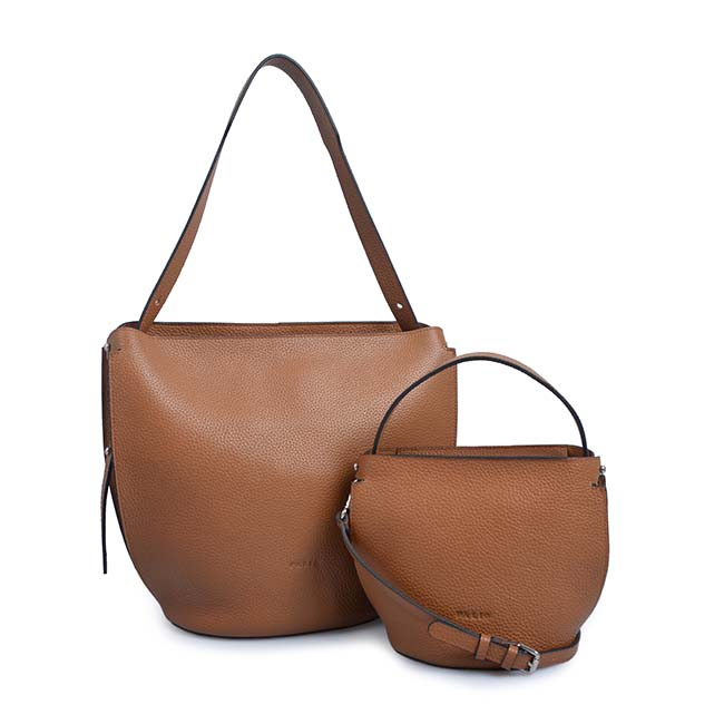 bucket bag with wallet color wide strap shoulder bag
