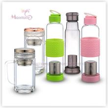 Verre en verre borosilicaté de 550 ml avec couvercle et porte-thé (013)