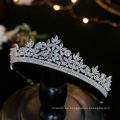 Diadema de boda de plata de cristal europeo, accesorios para el cabello de boda, tiaras de circonita con circonita cúbica, corona nupcial para fiesta