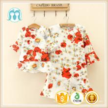 Mulher vestido de meia manga floral moda outono desenhos mais recentes modelos de crianças roupas crianças vestuário floral criança vestido africano