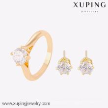 63753- Xuping Stylish 18k boucle d'oreille et bague bijou 2 pièces femmes