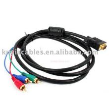 Câble VGA à 3 RCA pour PC RGB HDTV LCD