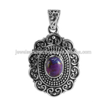 Diseño tradicional púrpura de cobre turquesa 925 plata sólida colgante oxidado