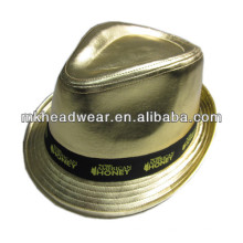 gold PU party hat with printing ribbon