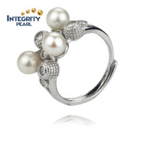 5.5-6mm AA Sterling Silver White Round 925 Silver Freshwater Pearl Ring