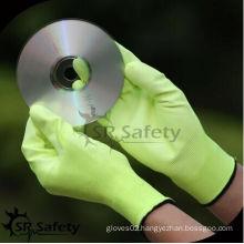 SRSAFETY yellow color pu gloves/pu coated/Hi-viz yellow nylon garden glove/pu gloves