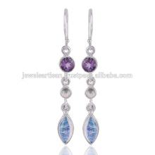 Lovely Rainbow Moonstone e Multi Gemstone 925 Solid Silver Earring Jewelry