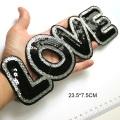 Parches de letras de amor bordados de lentejuelas negras