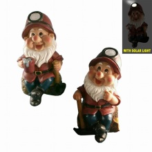 Working Dwarf with Solar Light Polyresin Garden Decoration 21cm
