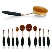 2016 Hot Sale Ensemble de brosse à maquillage ovale 10 PCS Ensemble de brosse à dents en or rose et cosmétique