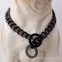 Factory Drop Shipping 15mm/17mm Gun Black Stainless Steel Dog Chains Dog Collar Pet Supplies For Pet Training Collar