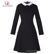 Grace Karin Women's Stylish & Slim Fit Long Sleeve Contrast Color Doll Collar Black A-Line Dress CL010470-1