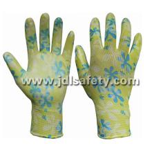 Poliéster de malha luvas de trabalho com nitrilo suave mergulho (N1561)