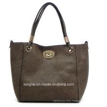 Pebble Texture Twist Lock 2-in-1 Designer PU Tote Handbags
