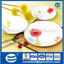Продовольственная безопасность домашних продуктов простой декорированный керамический обеденный стол дешевая фарфоровая тарелка