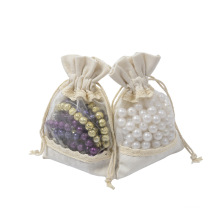 canvas drawstring gift pouch white cotton jewellery bag printed logo jewelry storage bag