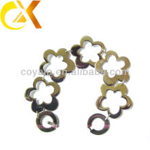 Jóia de aço inoxidável encravamento bracelete da flor da ligação chain para a menina encantadora