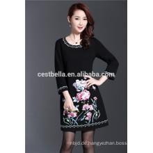 Elegante Frau schwarz casual Printed Kleid Herbst Kleidung 2016 für verheiratete Mutter