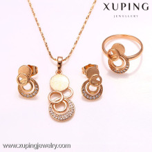 62216-xuping 18k el más nuevo diseño dubai 18K chapado en oro conjunto de joyas
