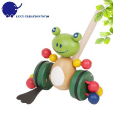 Toddler Happy Animal Toys Wooden Frog Push Along Toy