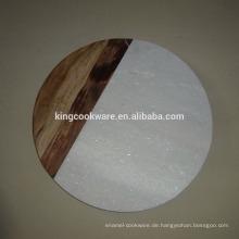 Kombiniertes Schneidebrett aus Marmor und Holz / Käseplatte