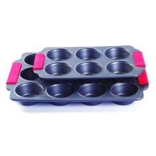 Silicone grip muffin cake pan