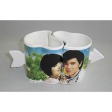 Haonai Lovely heart shape ceramic couple mug