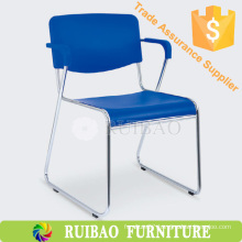 Modern Durable Stackable Cheap Office Chair Chrome Chair with Leather Cushion
