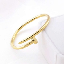 Unisex Stainless Steel w/CZ Nail Style Love Bangle Bracelet For Women Men