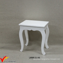 French Cream Solid Wooden Dressing Stool