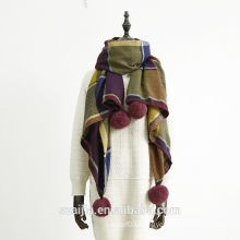 100%Acrylic ladies winter knitted pom scarf