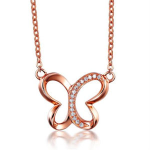 Butterfly Charm Halsband Rose Gold