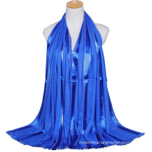 2017 New arrival autumn winter lady cotton plain glitter muslim hijab scarves shawls with tassels and gold wire