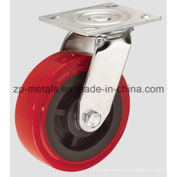 Rueda giratoria de 4 pulgadas en color rojo PU de alta resistencia