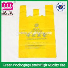 Bolsos plásticos de la camiseta del supermercado biodegradable en el HDPE plegable impreso aduana del doblez del rollo