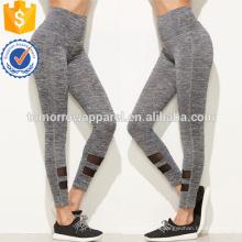 Jambières de panneau de maille de taille haute grise OEM / ODM fabrication en gros de mode femmes vêtements (TA7020L)