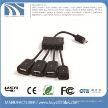 4 en 1 Micro USB OTG Hub Adaptateur de câble hôte multi-câble Pour Samsung / Tablette