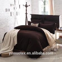 Venta al por mayor plana doble lechos de color sólido ropa de cama conjunto