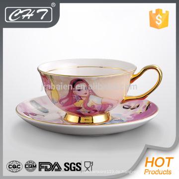 Neue Kollektion benutzerdefinierte gedruckte Großhandel Teetasse und Untertasse